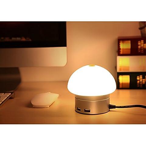 AMMBER Inteligente Luz LED de Noche con el Atardecer Hasta el Amanecer Luz-Sensor y USB de Doble Placa de Pared Cargador, 5V 2A de Salida Para la Función de Cargador Rápido de la Lámpara LED del Sensor en la Oscuridad Durante Pasillo, Baño, Dormitorio, Sala de Estar, Cocina (6 Port USB, Plata)