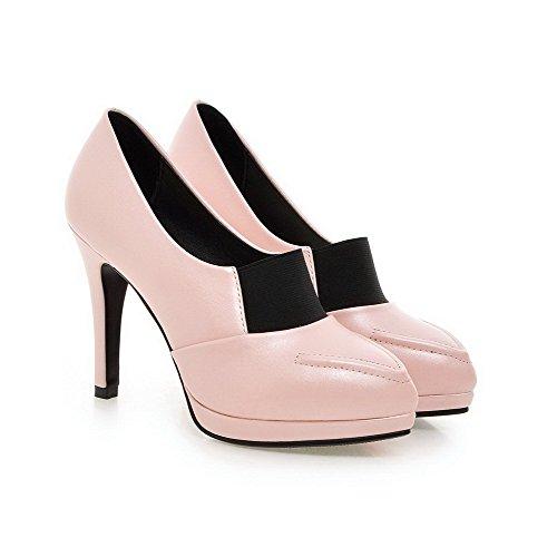 VogueZone009 Femme Pu Cuir Unie Tire Couleur Pointu à Talon Haut Chaussures Légeres Rose