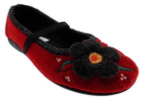 pantofola panno feltro rosso fiore laccetto 40 rosso