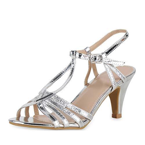 SCARPE VITA Damen Pumps Sandaletten Riemchensandaletten Metallic Party Schuhe Stiletto Absatzschuhe Elgante Abendschuhe 180558 Silber 40