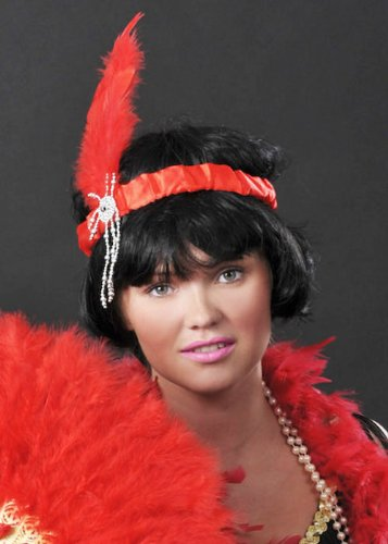 Red Flapper Girl Feder Stirnband (Girl Red Flapper Kostüm)
