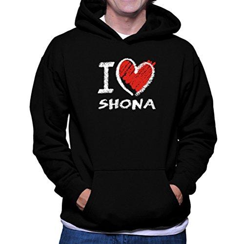 Felpe con cappuccio I love Shona chalk style