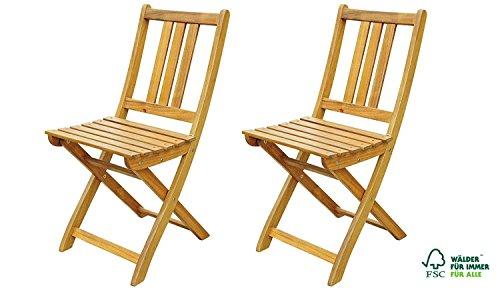 SAM 2er Set Akazien-Holz Gartenstuhl, FSC zertifiziert, ideal für Balkon, Garten Terrasse,...