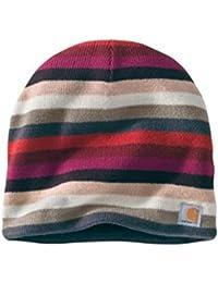 Carhartt Striped Knit Beanie - Raspberry Womens Warm Winter Ski Hat CHWA002654