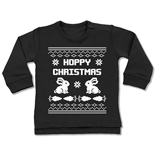 Shirtracer Weihnachten Baby - Ugly Christmas I Hoppy Christmas Hase - 18-24 Monate - Schwarz - BZ31 - Baby Pullover