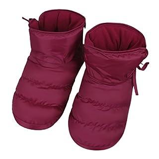 Hausschuhe von innen Hause Hausschuhe Velours Schuhe rutschfeste Wasserdicht Warm Socken Boden dick weich mit Futter Plüsch Stiefel Winter Herbst Weihnachtsgeschenk für Männer Frauen, rot/rosa, EU 40/41