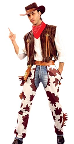 Faschingsfete Erwachsene Cowboy Outfit Western Style, S-M, Braun (Old West Western-cowboy-stiefel)