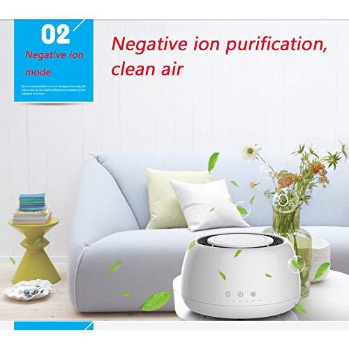 Dw&hx purificatore d'aria mini desktop,rimuovere formaldeide polvere fumatori batteri polline,camera da letto ufficio ioni negativi piccolo purificatore-bianca