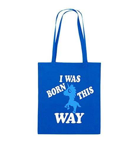 Comedy Bags - I was born this way - EINHORN - Jutebeutel - lange Henkel - 38x42cm - Farbe: Schwarz / Weiss-Neongrün Royalblau / Weiss-Hellblau
