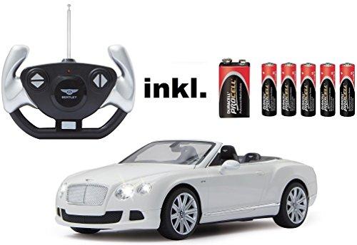 RC Auto kaufen Spielzeug Bild: RC Bentley Continental GT Speed Convertible (Cabrio) - schwarz oder weiß - Maßstab: 1:12 - LED-Licht - ferngesteuert, inkl. allen Batterien - RTR - LIZENZ-NACHBAU (Weiß 40MHz)*