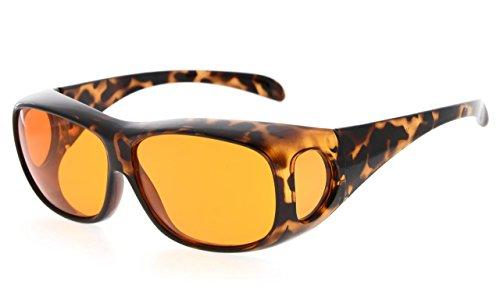 Eyekepper 100% Blaues Licht Blockierung,Riesige Überschlag Anti-Blau Blockierung Computer Brille mit Extra Bernstein Linse,Schildkröte