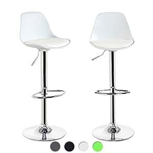 KAYELLES Tabourets de Bar Cuisine DESIGN SIG - Lot de 2 - Chaise de Bar Réglable (Blanc)