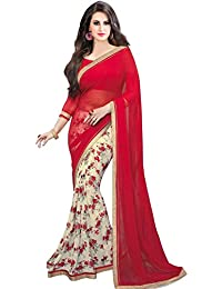 Women's Georgette Printed With Lece Designer Saree With Blouse Piece
