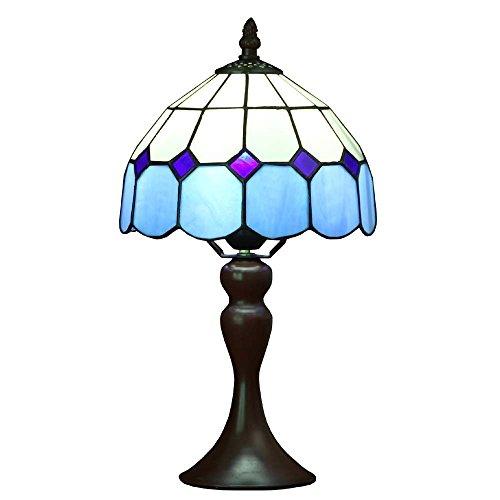 Bieye L30041 Lámpara de mesa estilo vitral, estilo mediterráneo Tiffany, de 8 pulgadas, con base de metal, altura de 15 pulgadas