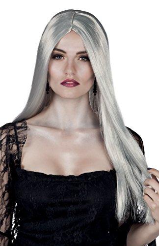 Parrucca lunga strega bewitched, grigio