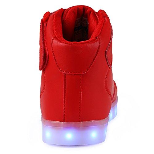TULUO Haut-dessus chargement USB LED chaussures clignotant chaussures de sport pour les Enfants et adultes red