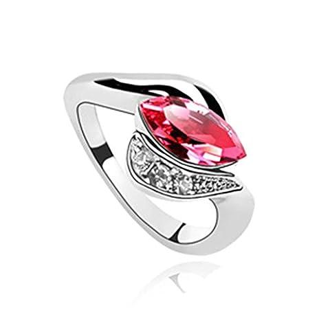 AMDXD Bijoux Plaqué Or Bagues de Fiançailles pour Femme Blé Rose Rouge Taille 52.5