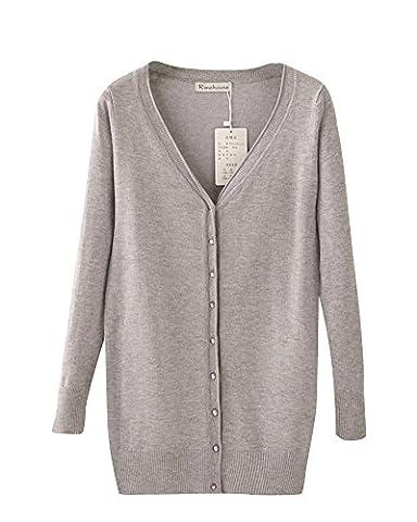Femme V-Cou Loisir Longue Section Cardigan En Maille Manche Longue Châle Manteau Grey XL