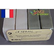 MGI DEVELOPPEMENT Lote de 4 pastillas de jabón refinado de Marsella, de fabricación tradicional,