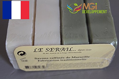Set of 4 Refined Marseille Soaps - Traditional Manufacture - Pure Oil without Colourings