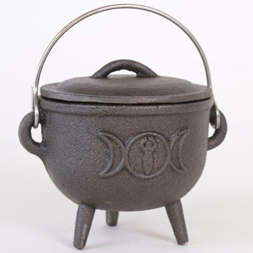 Gusseisen Tripple Mond Cauldron Pot Hexen Zauber Halloween Wicca Pagan 12cm (Wicca Halloween-y)