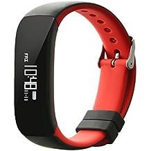 NONMON Bluetooth SmartWatch Reloj Inteligente Deportivo Monitor de Presión Arterial/Ritmo Cardíaco/Actividades/Podómetro - Rojo/Negro