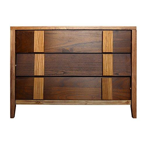 Rebecca srl cassettiera comodino 3 cassetti legno marrone arredamento retro camera soggiorno (cod. re4656)