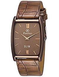 Trending & Stylist Square Black Dial Slim Watch with Leather Belt FCW 2991-BLK Analog Watch - for Men (Brown)