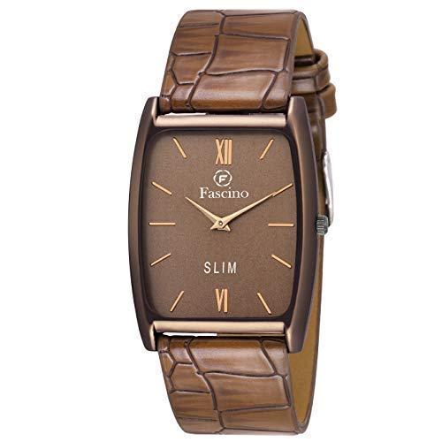 Fascino Men's Analogue Brown Dial Slim Watch...
