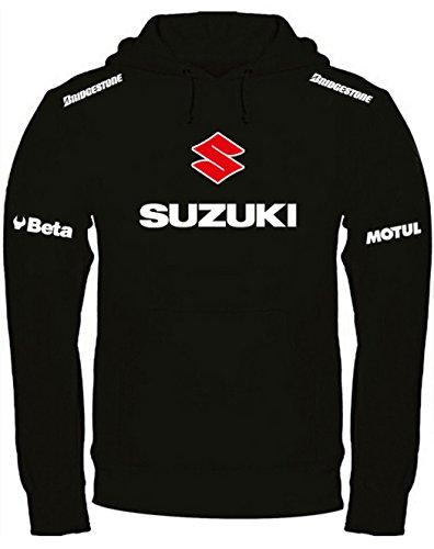 Print & Design Felpa con Cappuccio Suzuki Personalizzata Nera (XL)