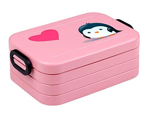 Mein Zwergenland Brotdose Mepal Lunchbox Maxi Take A Break Midi inkl. BENTO Box und Gabel mit Namen Nordic Pink, Pinguin - Pinguin Lunch-box