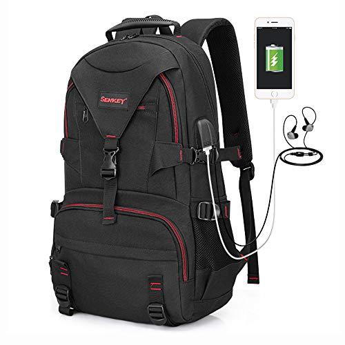 FPTB Business-Rucksack, USB-Ladeanschluss Reiselaptoptasche Wasserdichter Tagesrucksack Für 15,6-Zoll-Computer, Oxford-Stoff, Schwarz