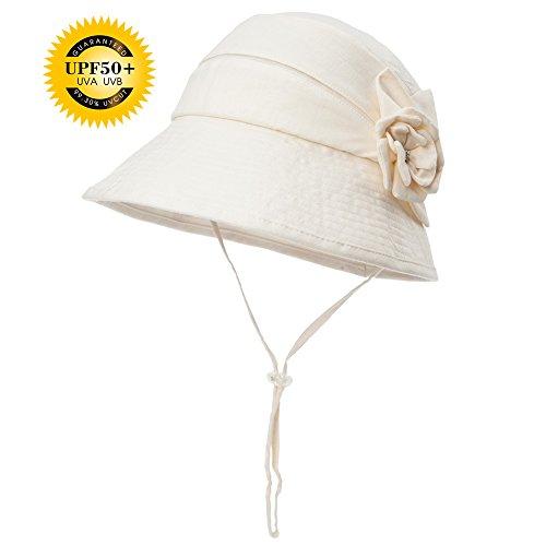SIGGI Damen Leinen/Baumwolle faltbare beige Sonnenhüte Sonnen Shade mit Kinnriemen Fischerhüte SPF 50 + breite Krempe