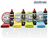 detailmate Auto Politur Set - Menzerna Autopolitur - Super Heavy Cut Compound HC1000 + Medium Cut 2500 + Final Finish FF3000 + Liquid Carnauba Wachs + 4 passende Menzerna Pads + 4 Poliertücher