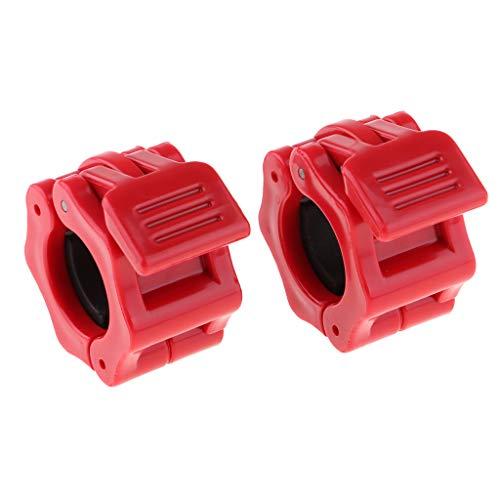 IPOTCH 2 Unidades de Clip de Bloqueo de Mancuernas Duradero Cierre Rápido para Pesas, Fitness y Ejercicio - Rojo 28 mm