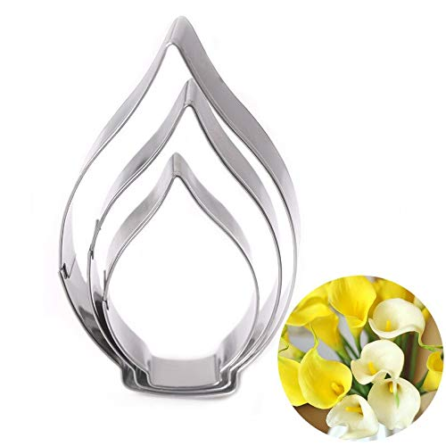 Cake Molds - 3 Pcs Stainless Steel Calla Lily Mould Multifunction Diy Baking Fondant Cookie Chocolate Cake - Size Lace Ring Square Pokemon Pans Stainless Leakproof Steel Flowers Kids Baby Shape Square Chocolate Mold
