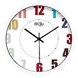 BAOBAO Horloge Murale en métal pour multicoloreddecoration Chambre Quartz Tranquille Pas DE 12 Pouces ou 14 Pouces ou 16 Pouces-B 12inch