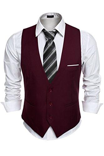 Aulei Herren Anzugweste slim fit stilvolle elegante Weste für Hochzeit Business Fest casual wear Weinrot