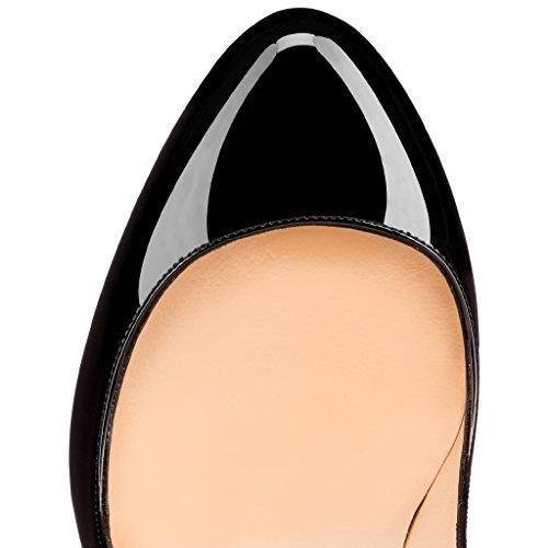 EDEFS Femmes Escarpins Classique Lady Délicats Chaussures à Talon Aiguille de 120mm Travail Bureau Taille 35-45 Noir