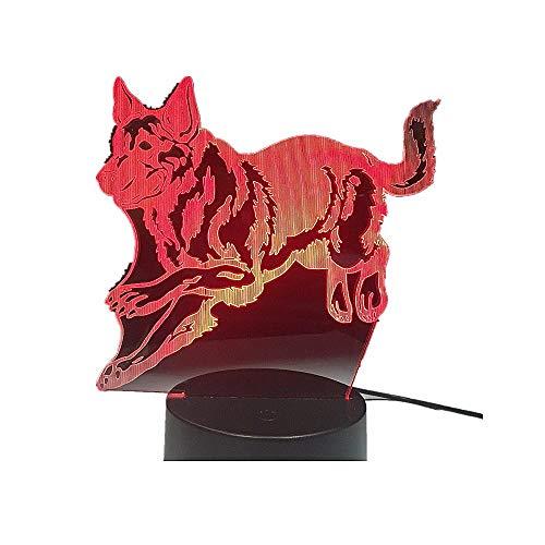 Schäfer Hund 3D Nacht Lampe Hologramm 3D Hirsche Decor Lampe Bunte Tisch Schreibtisch Lichter Geburtstag Geschenk Für Kinder Freunde Schäfer Hund Fernbedienung -