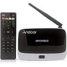 Andoer® CS9181080P Android 4.4Smart TV Box Rockchip rk3188t Quad Core Cortex A91.4GHz 2G/32G HDMI Mini PC H.264Kodi/XBMC DLNA Miracast AirPlay WIFI Bluetooth 4.0OTG Smart Multi Media Player TF/MicroSD Ranura para tarjeta Antena externa con mando a distancia