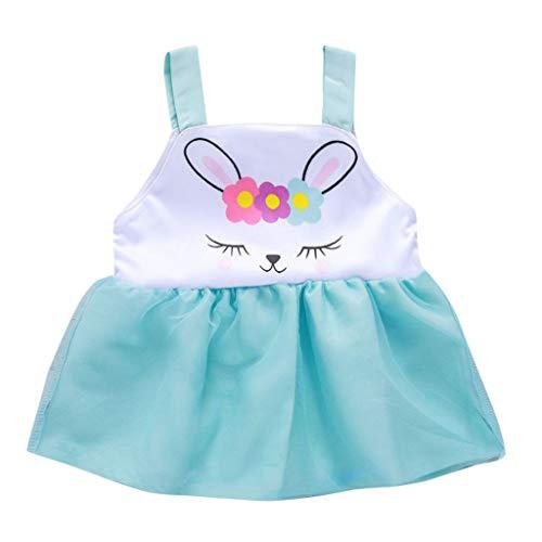 Xmiral tutu vestito abito gonna rete vestiti senza maniche con stampa coniglio giorno di pasqua stampa di coniglio dei cartoni animati pasqua principessa costume dimensione tag: 80 blu