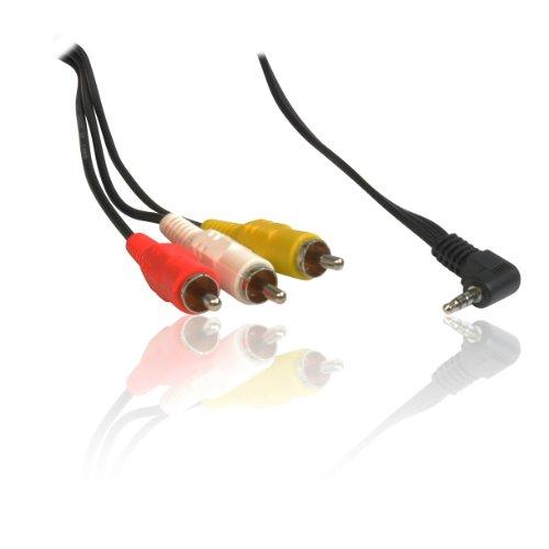 CDL Micro 1m 3,5mm Klinkenstecker Camcorder an TV 90Grad 4Pole/Ringe Stereo-Klinkenstecker auf RCA/Phono Video führen Kabel