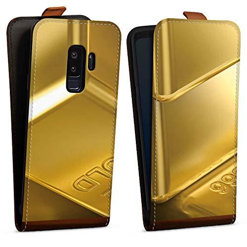 DeinDesign Tasche Hülle Flip Case kompatibel mit Samsung Galaxy S9 Plus Goldbarren Gold Barren
