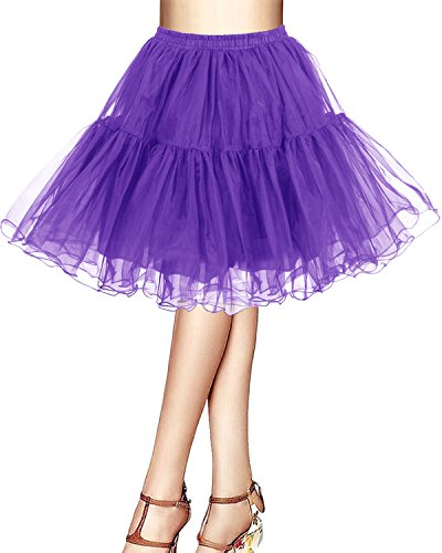 Bridesmay Kurz Retro Petticoat Rock 1950er Vintage Tutu Ballett Unterkleid Purple XL (Länge Tutu)