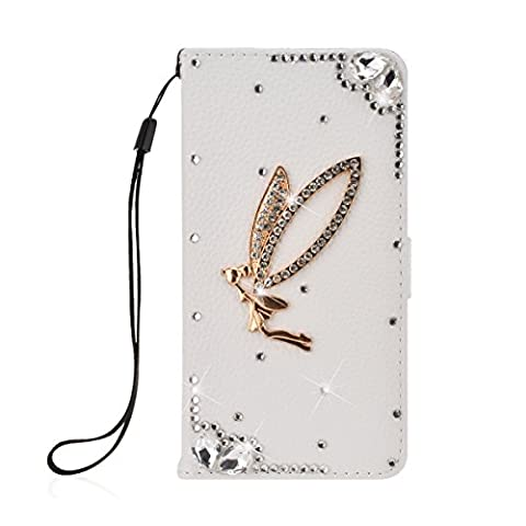 SmartLegend Bling PU Cover Samsung Galaxy S7 Edge Phone Case Wallet Lanyard Strap Carrying Glitter Rhinestone Stylish Smartphone Leather Flip Case Stand Function Cellphone Bumper with Back Magnet Closure and Card Slots Holster Bookstyle Mobile Phone Protective Cover - White
