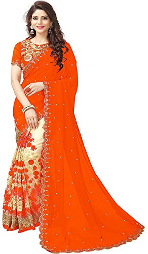 Sunshine Fashion New Latest Collection 2018 Embroidery Work Saree For Women Party...