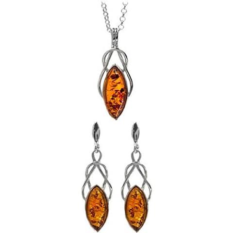 Baltic Honey Amber Sterling Silver Celtic Earrings Pendant Set Chain