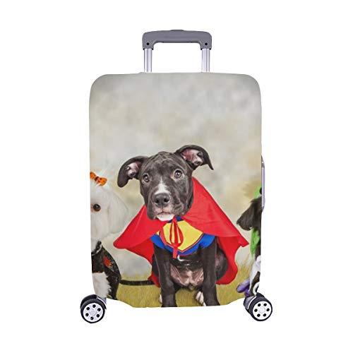 DREI Nette kleine Welpen-Hunde gekleidet Stockfoto Muster-Spandex-Laufkatzen-Reisegepäck-Schutz-Koffer-Abdeckung 28,5 x 20,5 ()