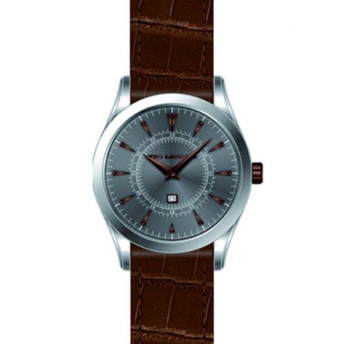 Ted Lapidus - 5126202 - Montre Homme - Quartz Analogique - Cadran Gris - Bracelet Cuir Marron